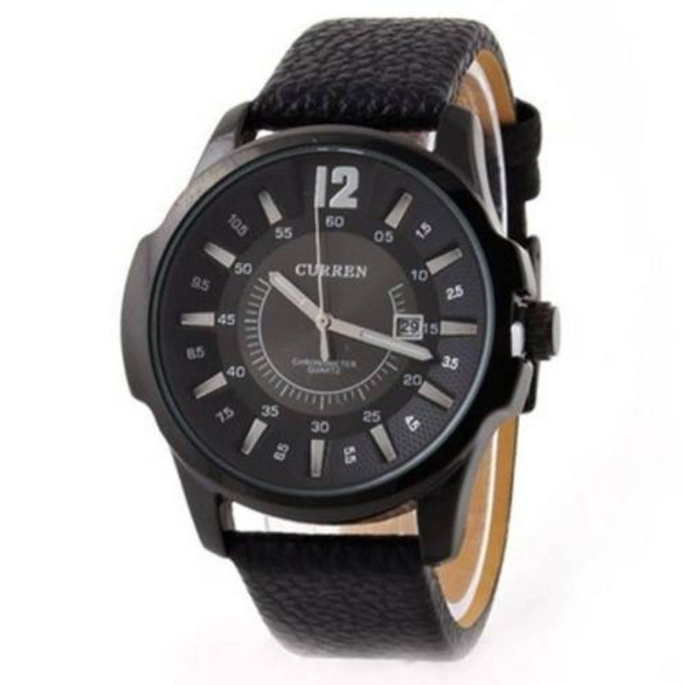 Beli Curren Jam Tangan Pria Hitam Strap Leather M8123 Leather Watch Online Murah