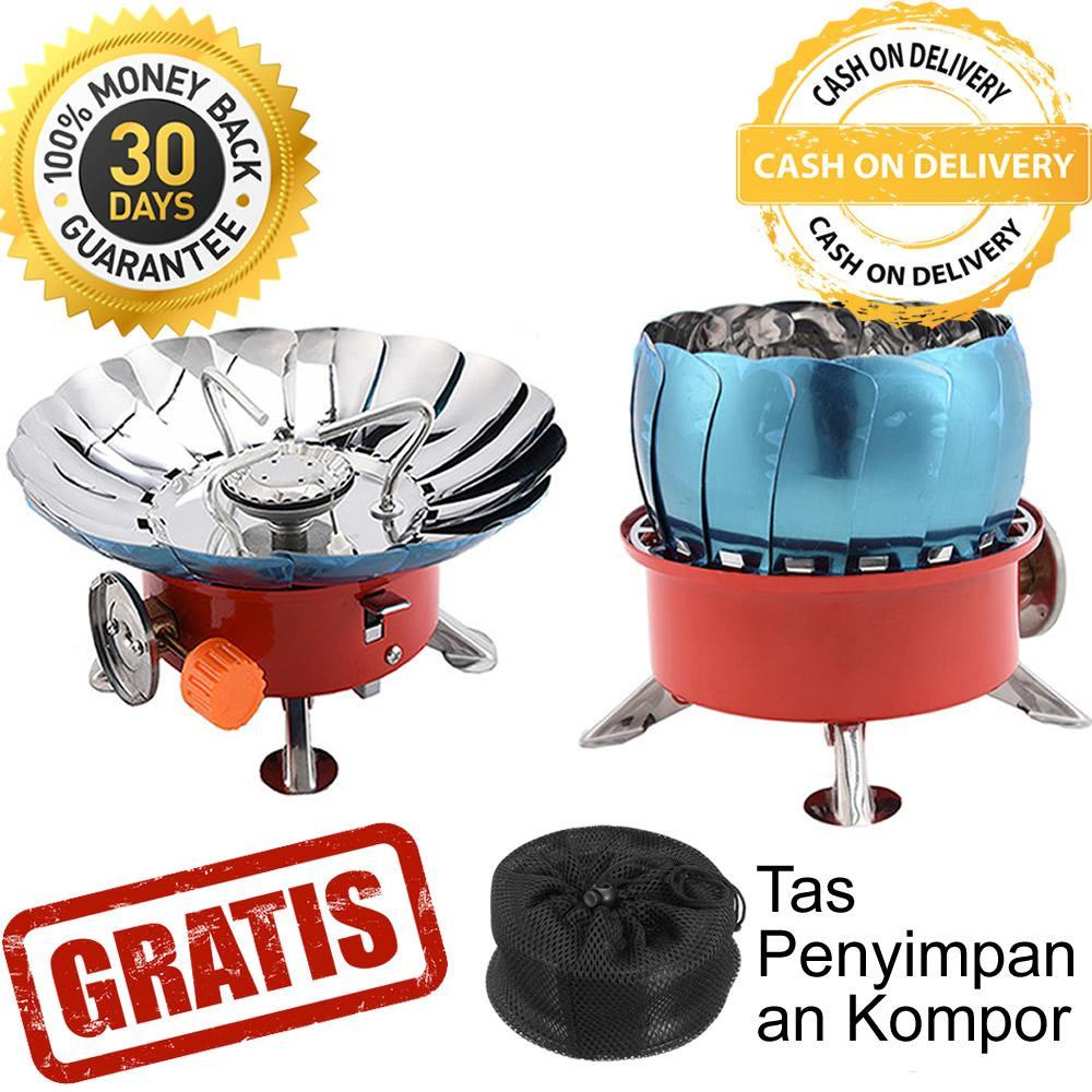 Fitur Promo 1 Set Kompor Lipat Mini Portabel Untuk Camping Portable Outdoor Hoki Tahan Angin Kovar Gas Travel Windproof