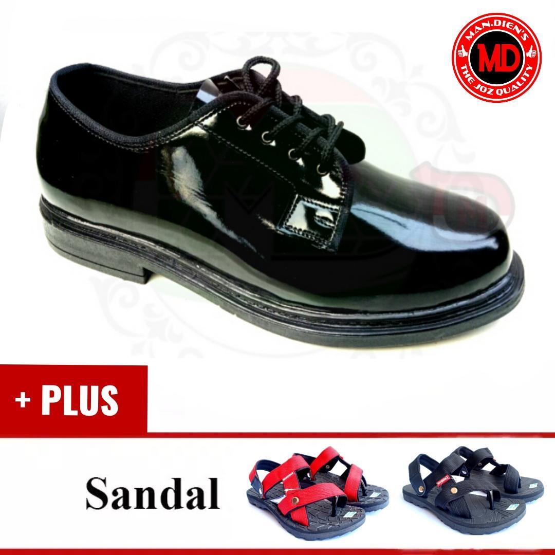 [plus sandals] mandiens sepatu pria pdh pendek plus sandal sgm601  / sepatu pdh polisi / sepatu kilap/ sepatupdh / sepatu polri kilap/ sepatu pdh tali