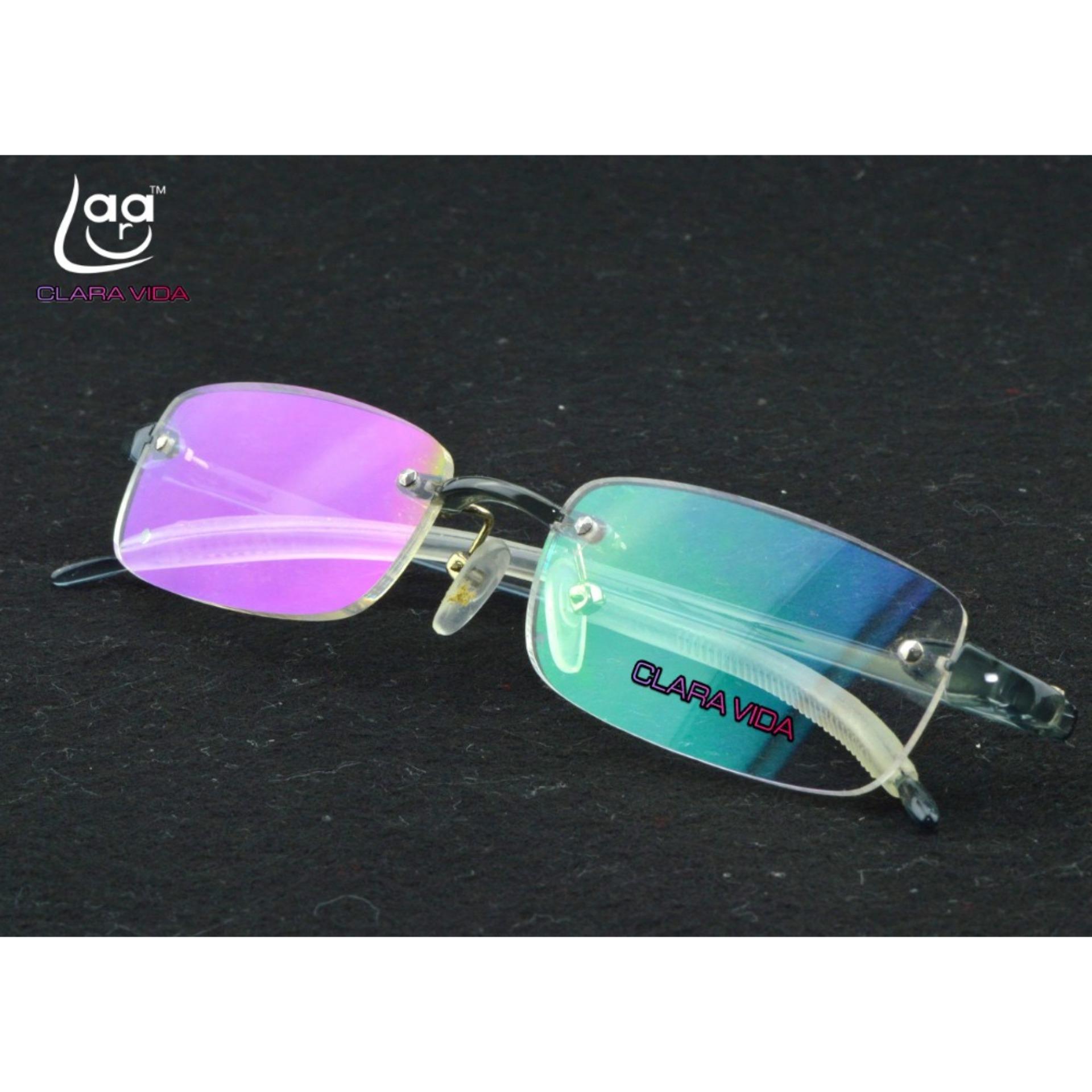 Spesifikasi Gafas De Lectura Dua Pasang Rimless Frameless Light Antislip Pria Wanita Kacamata Baca Case 1 Online