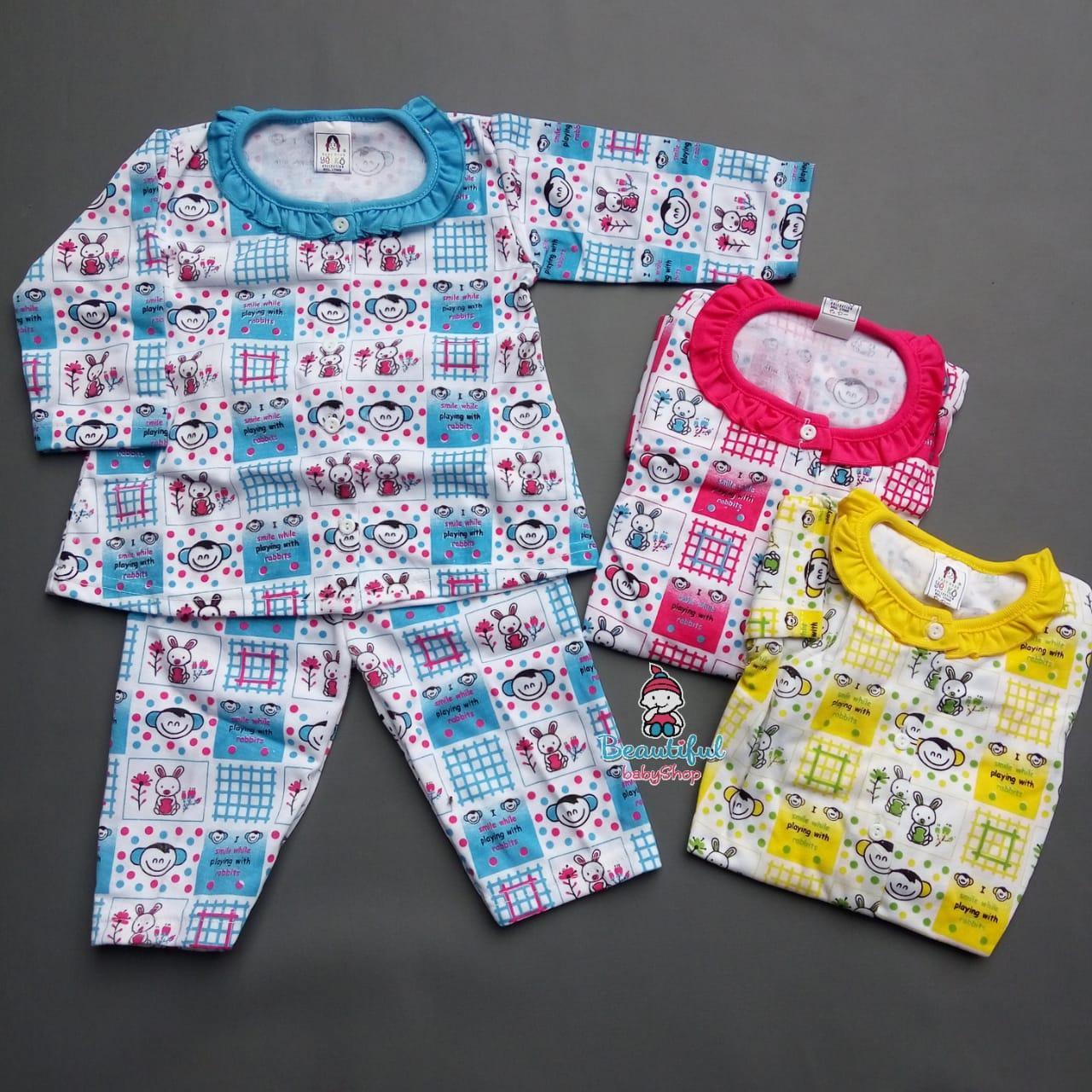 Setelan Panjang Bayi | Baju Tidur Bayi | Piyama Bayi