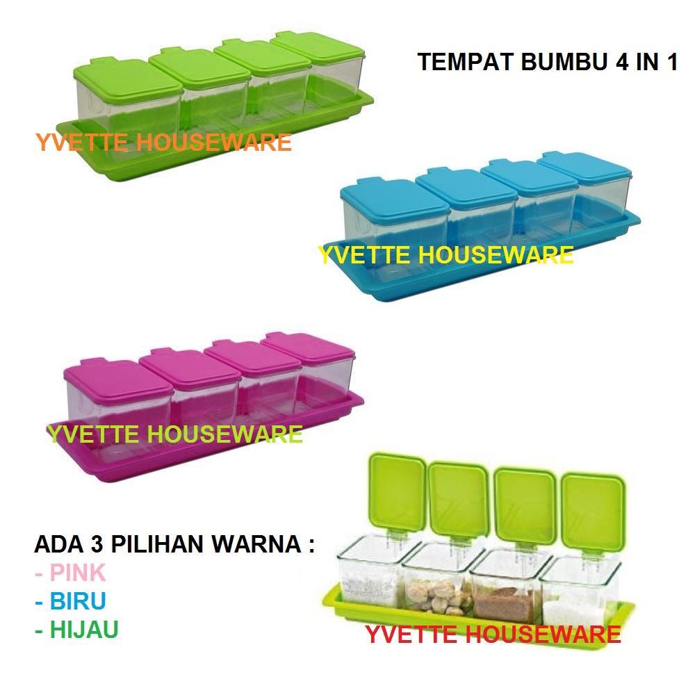 Tempat Bumbu 4 in 1 Seasoning Box Serbaguna + Dilengkapi Dengan Sendok Takar - Warna Random
