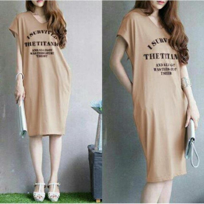 9 Shop Midi Dress Kaos Terusan Wanita SURVIVED Dress Kaos Dress T-shirt Gaun Kasual Dress Casual Dr