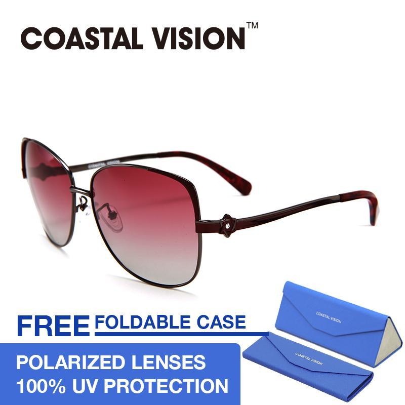 Beli Coastal Vision Kacamata Polarized Wanita Merah Oversize Lensa Anti Uva B Cvs5106 Nyicil