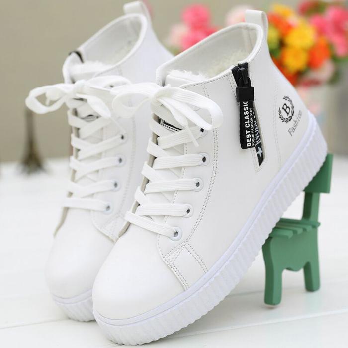 Sepatu Kets Boots Wanita B Fashion Best Classic - Putih