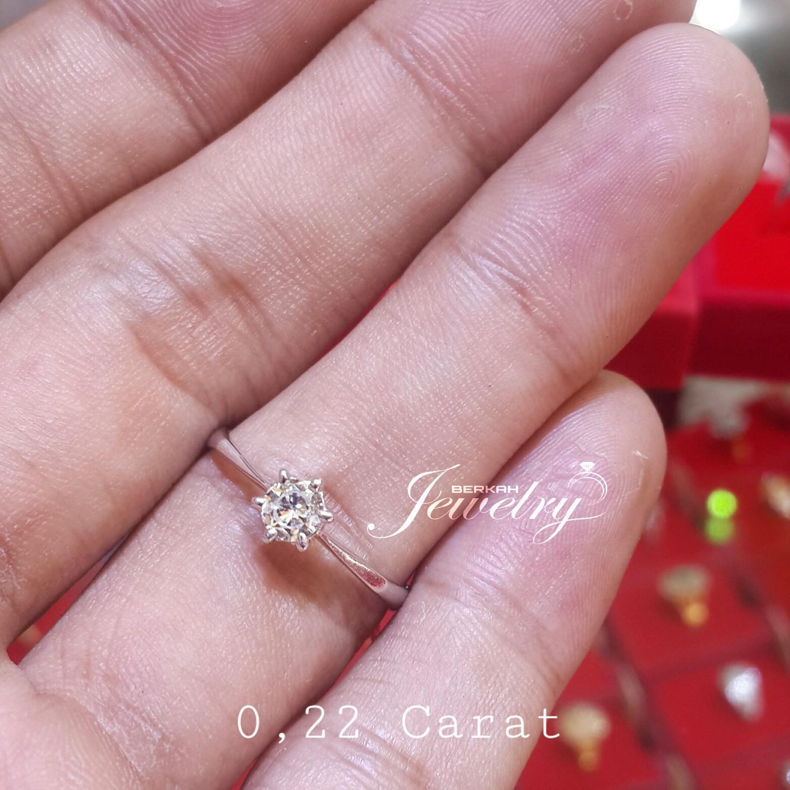 Cincin BERLIAN 0,22 Ct Natural Diamond Ring Solitaire Emas 40 %