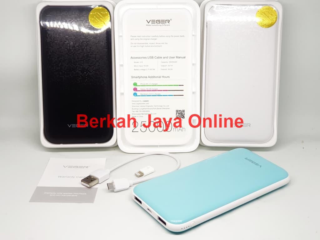 Powerbank Veger 25000 mAh Portable Slim Real Capacity - Original Garansi Resmi 1 Tahun