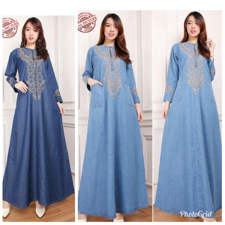 TJ Collection Dress Maxi Naura Gamis Jeans Longdress Wanita