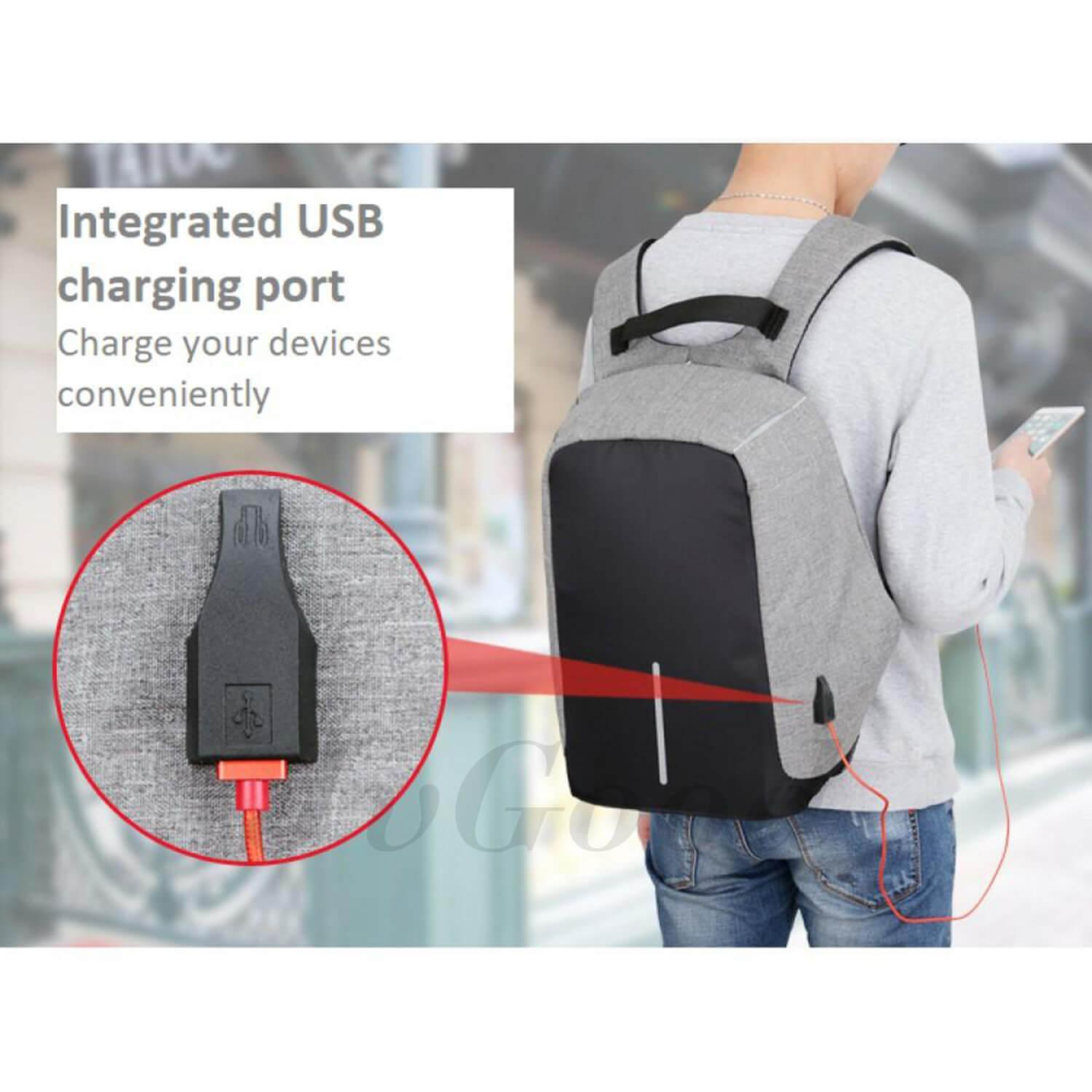 ... JvGood Anti-theft Backpack Business Laptop Backpack College Backpack Travel Bag with External USB Charging ...