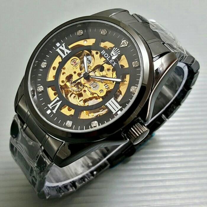 Jam Tangan Pria Rolex Skeleton Transparan Full Black Romawi - Egthtr