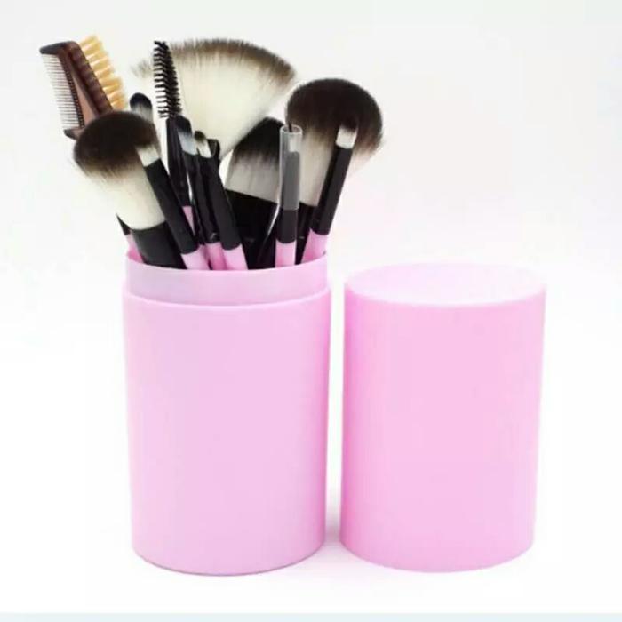set brush makeup / make up brush set termasuk box penyimpanan warna pink