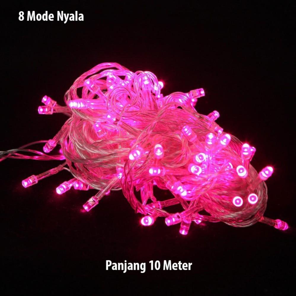 LED Tumblr Pink Lampu Hias Natal 10 Meter + Colokan Sambungan