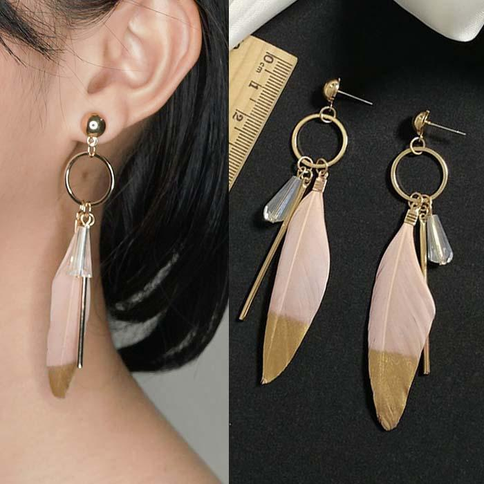 Anting  Bohemian Feather Earrings J4U744