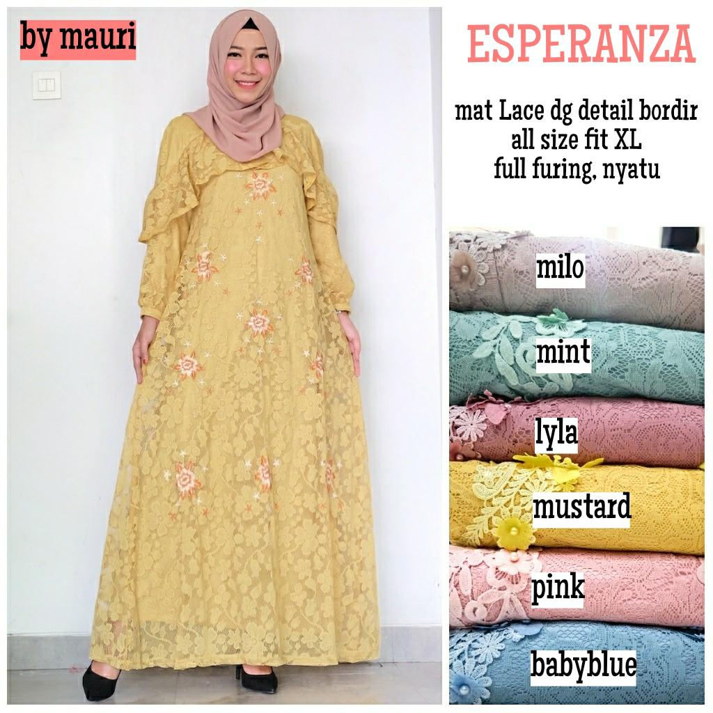 Gamis Long dress maxi wanita muslim brokat lace. import. espranza XL gaun