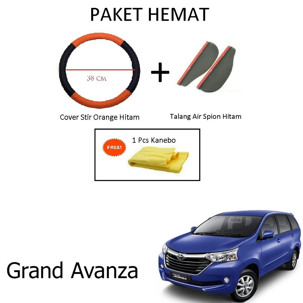 Sarung / Cover Stir / Setir / Steer Mobil Grand Avanza Warna Hitam Orange + Talang Air Spion Hitam
