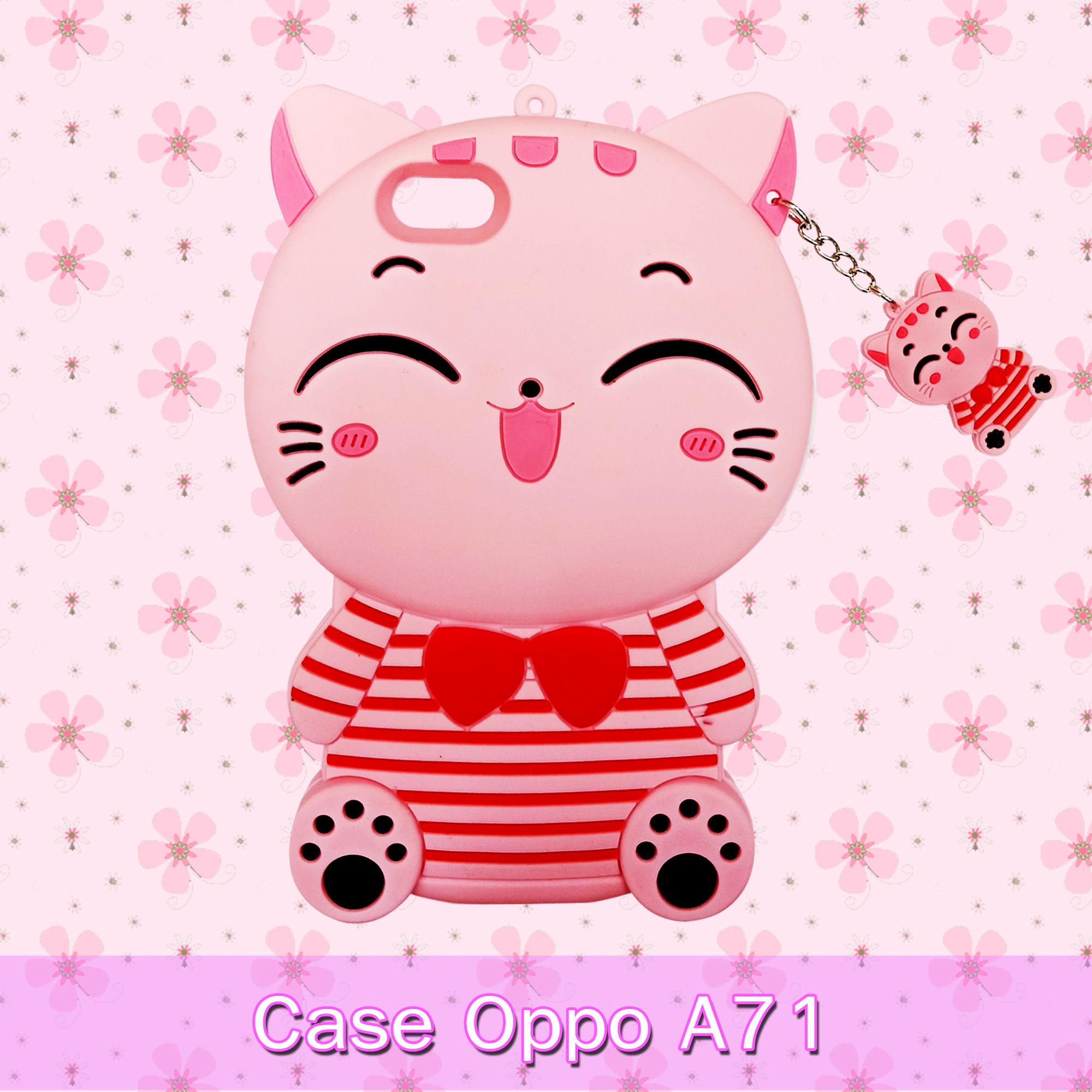 Softcase Silicon Cat Pink Phone Case New Oppo A71