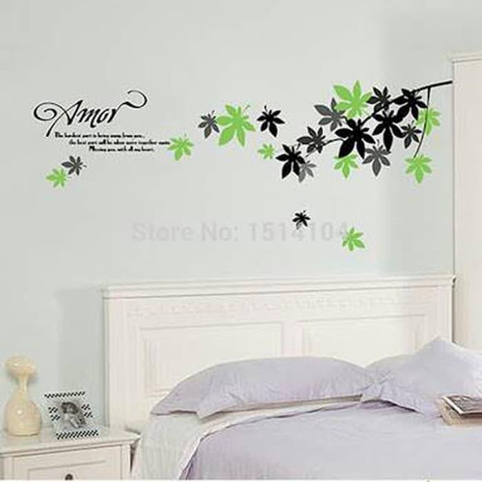 ... wall sticker 50x70/wall stiker transparan-AY718-amor leaves - 3 ...