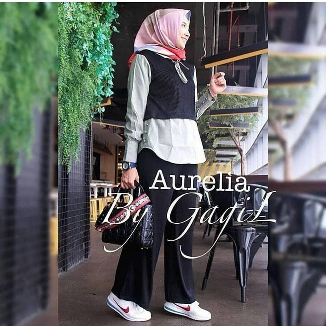 New Baju Original Aurelia Set 3in1 Balotely Setelan Atasan + Celana Rok Overall Fashion Wanita Pakaian Muslim Cewek Hijab