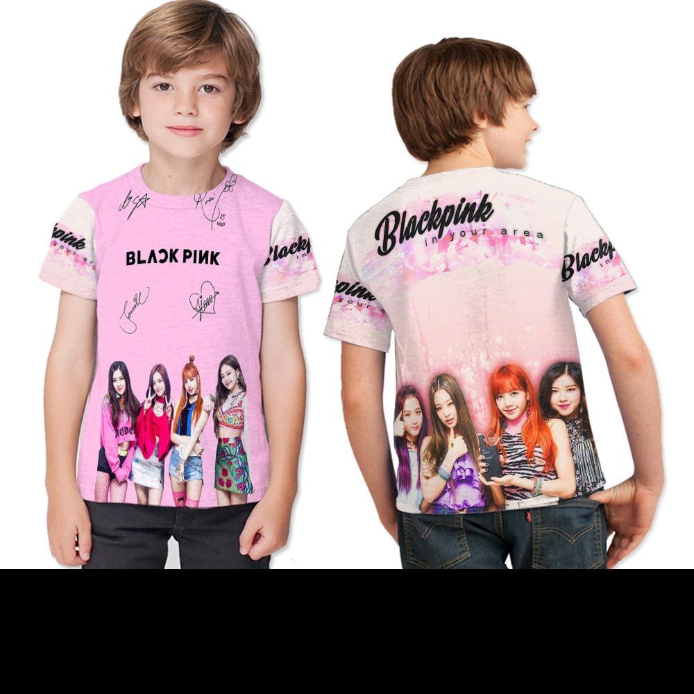 Kaos Anak Fulprint Black Pink