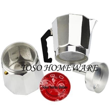Detail Gambar Silver Moka Pot Alumunium 12 Cup Mokapot Coffee Espresso Kopi Genzakitchen Terbaru