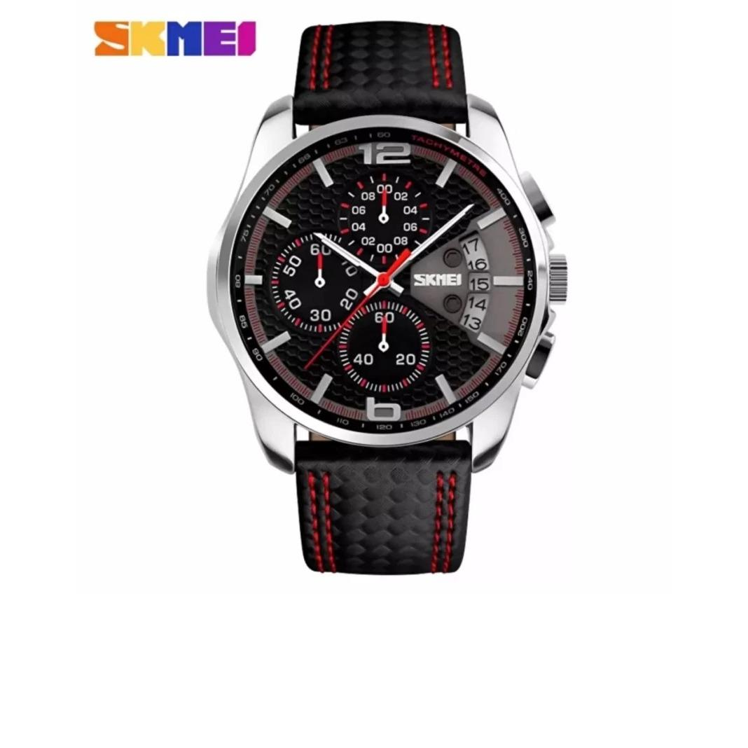 Beli Skmei Jam Tangan Pria Sports Watches S Quartz Hour Date Clock Leather Strap Waterproof Wristwatch 9106 Black Red Dki Jakarta