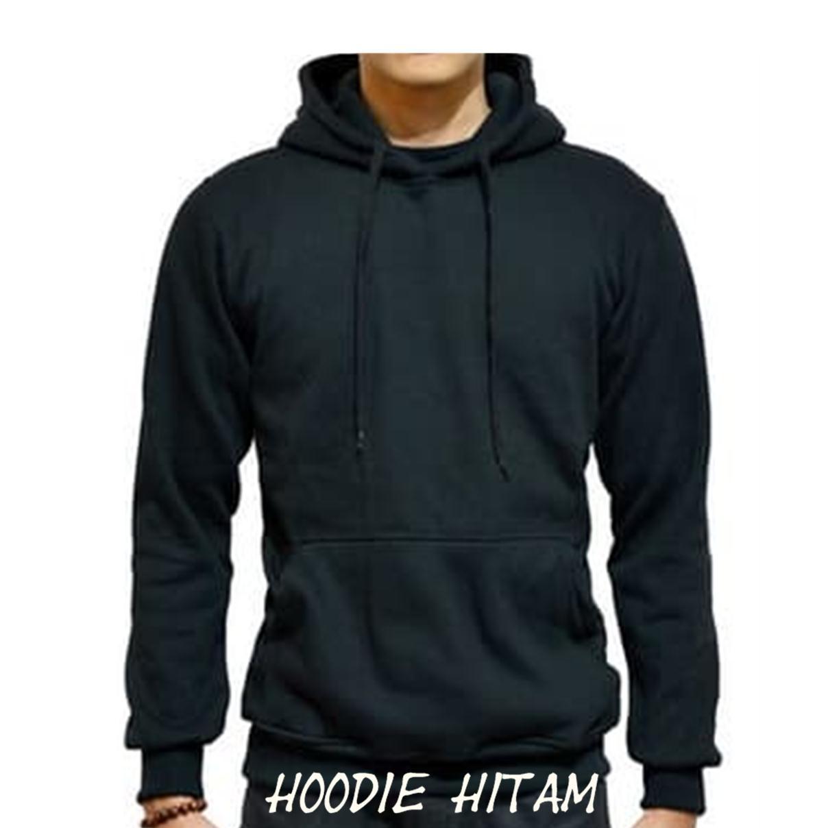 ... Hoodiepolos Jaket Sweater Hoodie Pria Jumper Polos Fleece NON Hitam