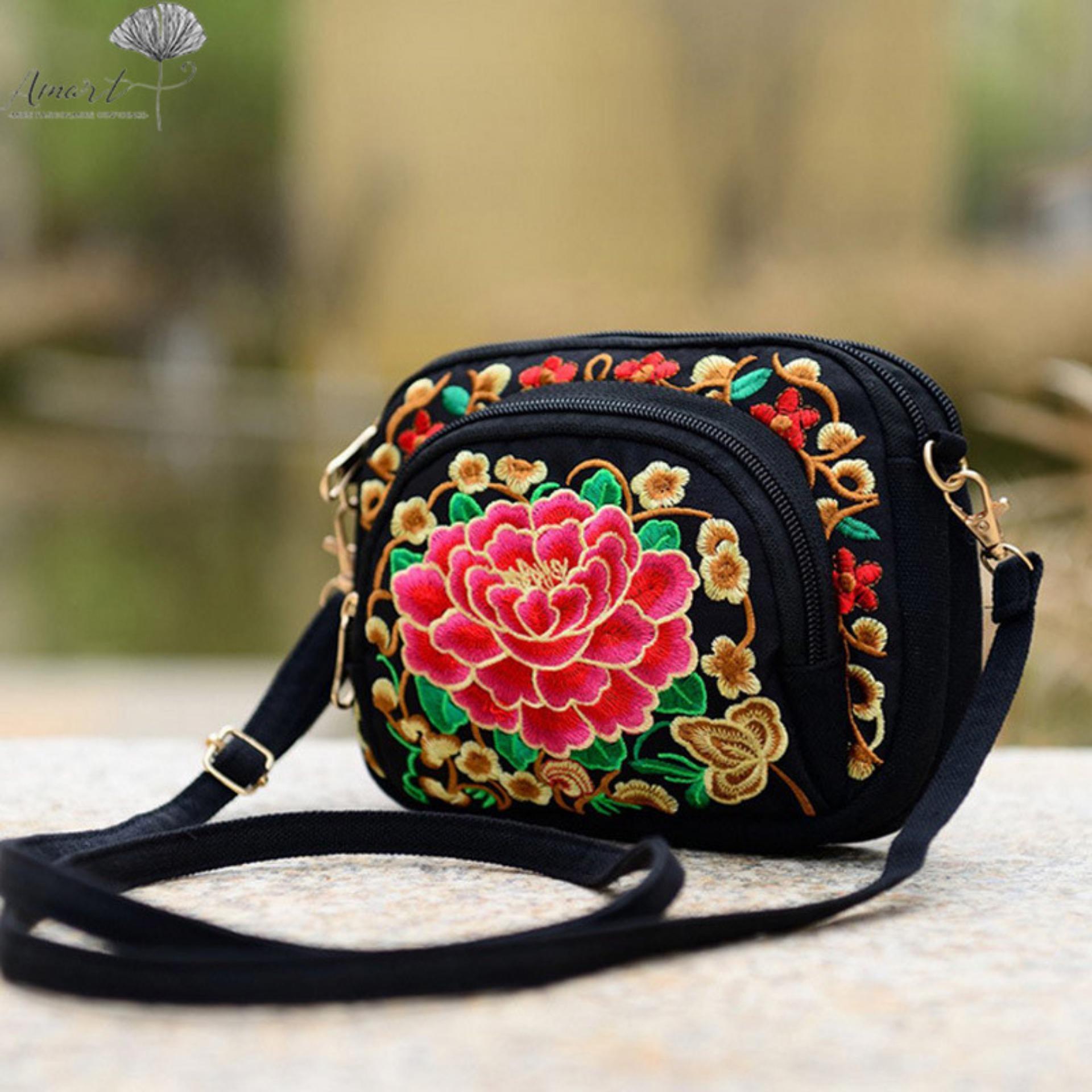 Amart Pu Tas Selempang Bahu Rantai Kulit Wanita Gaya Korea Dengan Woman Handbag  Import Hhm309 Hias Bordir Bunga China