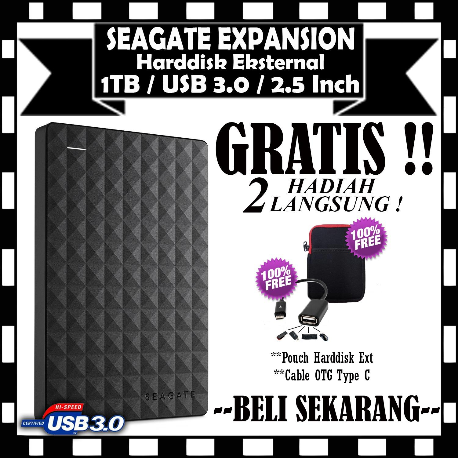 Seagate Expansion Harddisk Eksternal 1TB/2.5Inch/USB3.0 - Hitam - GRATIS Pouch HDD & Cable OTG Type C