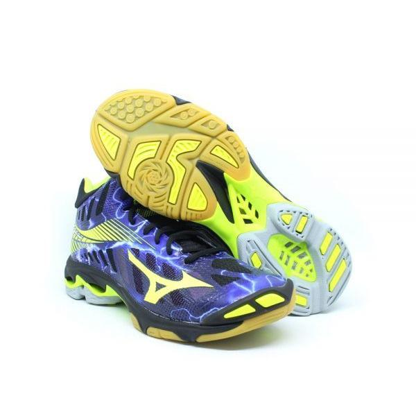 Sepatu voli Mizuno V1GA180500	WAVE LIGHTNING Z4 MID - BLACK SAFETY YELLOW PANSY