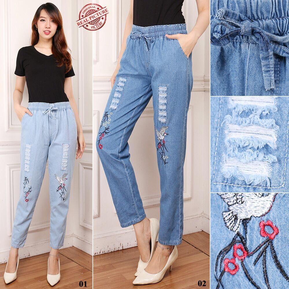 Spesifikasi 168 Collection Best Celana Panjang Jeans Sobek Laura Celana Panjang Biru Tua Online