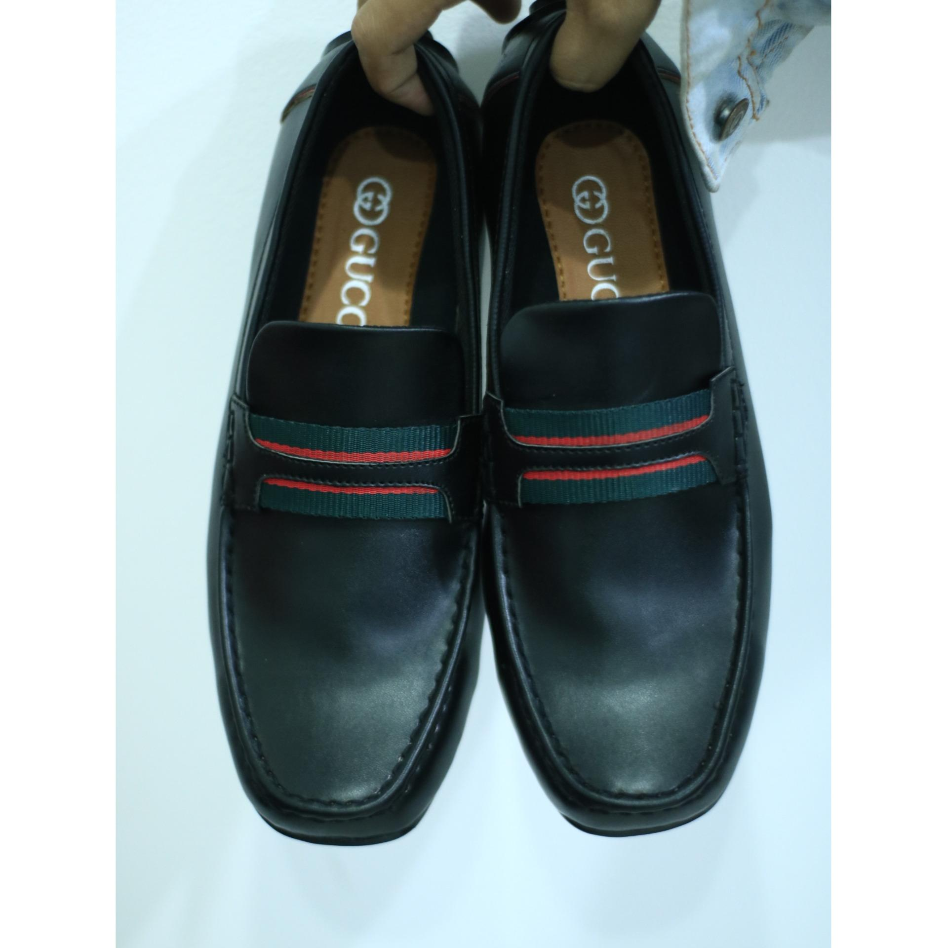 GUCCI - sepatu casual GUCI pria casual formal mocasin slip on flat shoes slop pria kickers loafers adidas (Lokal)