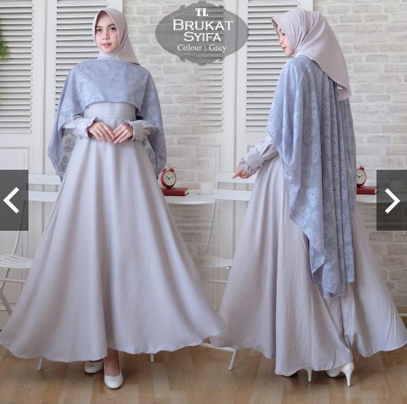 Fitur Moslemwear Gamis Syari Pesta Brukat Premium Free Hijab