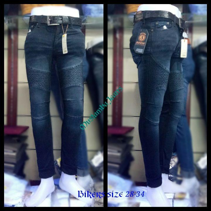 Celana Jeans Pria Biker Slim Fit blue black Wash