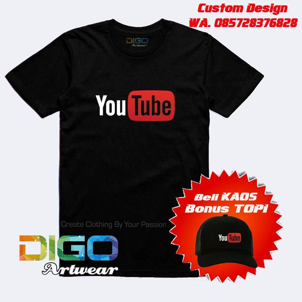 Kaos Youtube Bonus Custom Nama Channel Youtube Dan Bonus Topi Exclusif