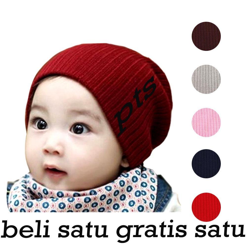 Topi Rajut Kupluk Polos Anak - Bayi - Si kecil CUTE BEANIE HAT, Keren, Adem, Lembut, Lucu (Beli Satu Gratis Satu pcs)