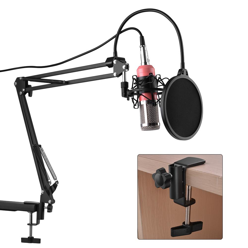 BM-800 Condenser Pro Audio Microphone Studio Dynamic Mic +Shock Mount Pink TH592