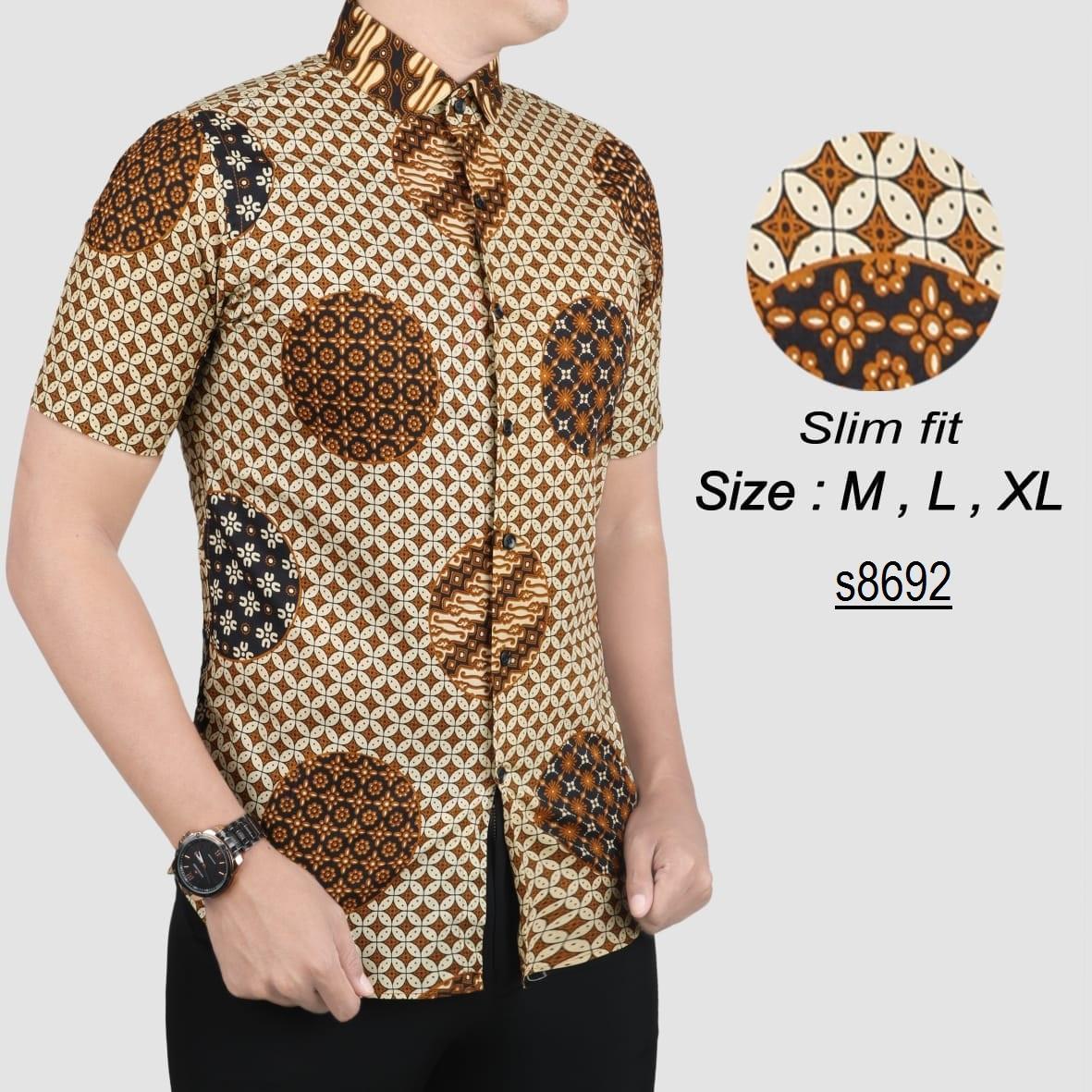 Batik Pria Modern Kemeja Batik Pria Slim fit s8692