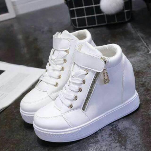 harga Sepatu boot tinggi bot sporty casual remaja cewek wanita suede zip zipper risleting Lazada.co.id