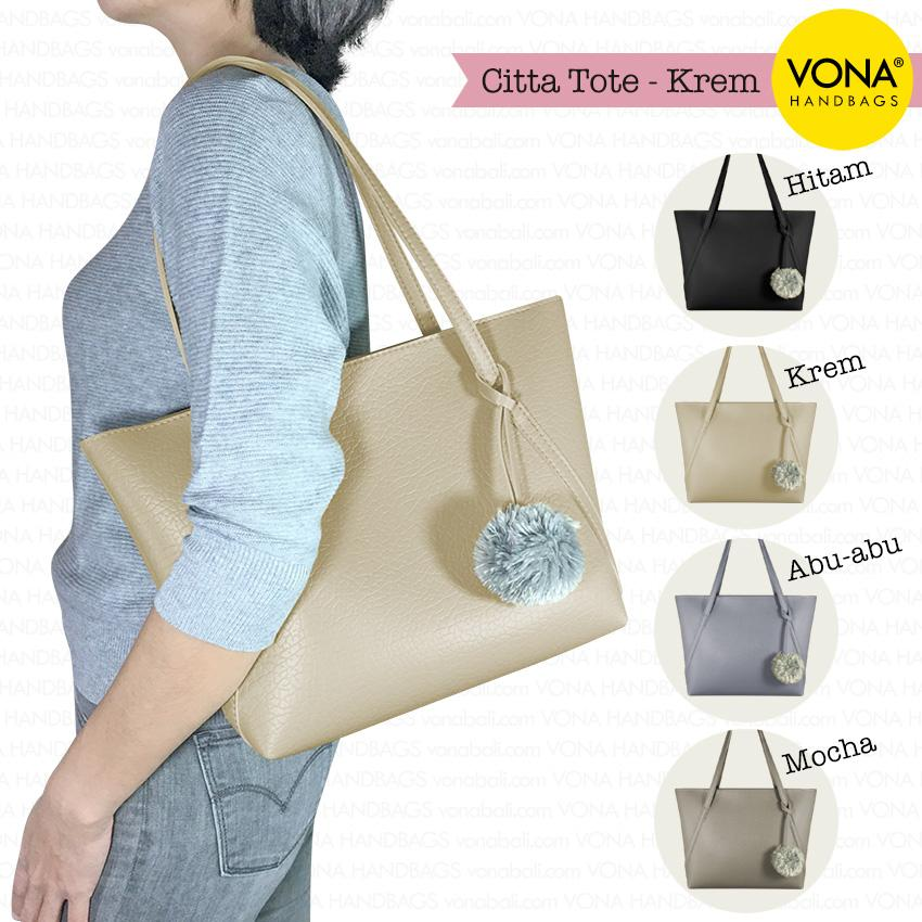 VONA Citta - Tas Tote Bahu Wanita Pompom Bulu Shoulder Bag Tangan Sekolah Kerja Belanja Ladies Shopping Handbag Gendong Remaja Cewek Tali Zipper Murah Korean Fashion Bali Kulit Sintetis PU Leather Best Seller New Arrival Terbaru Branded Original Asli