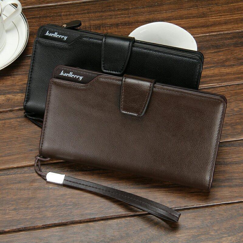 Baellerry G1603 Dompet Lipat Kulit Panjang Pria Bisnis Kartu Kredit Premium Clutch Wallet Dengan Tali Tangan