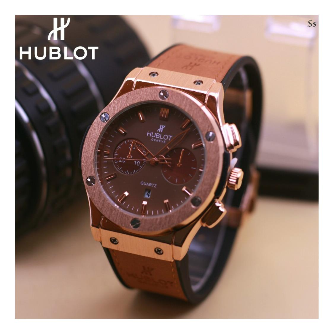 Jam tangan pria casual forma dan fashion Hublot - date on -rubber strap body stainless
