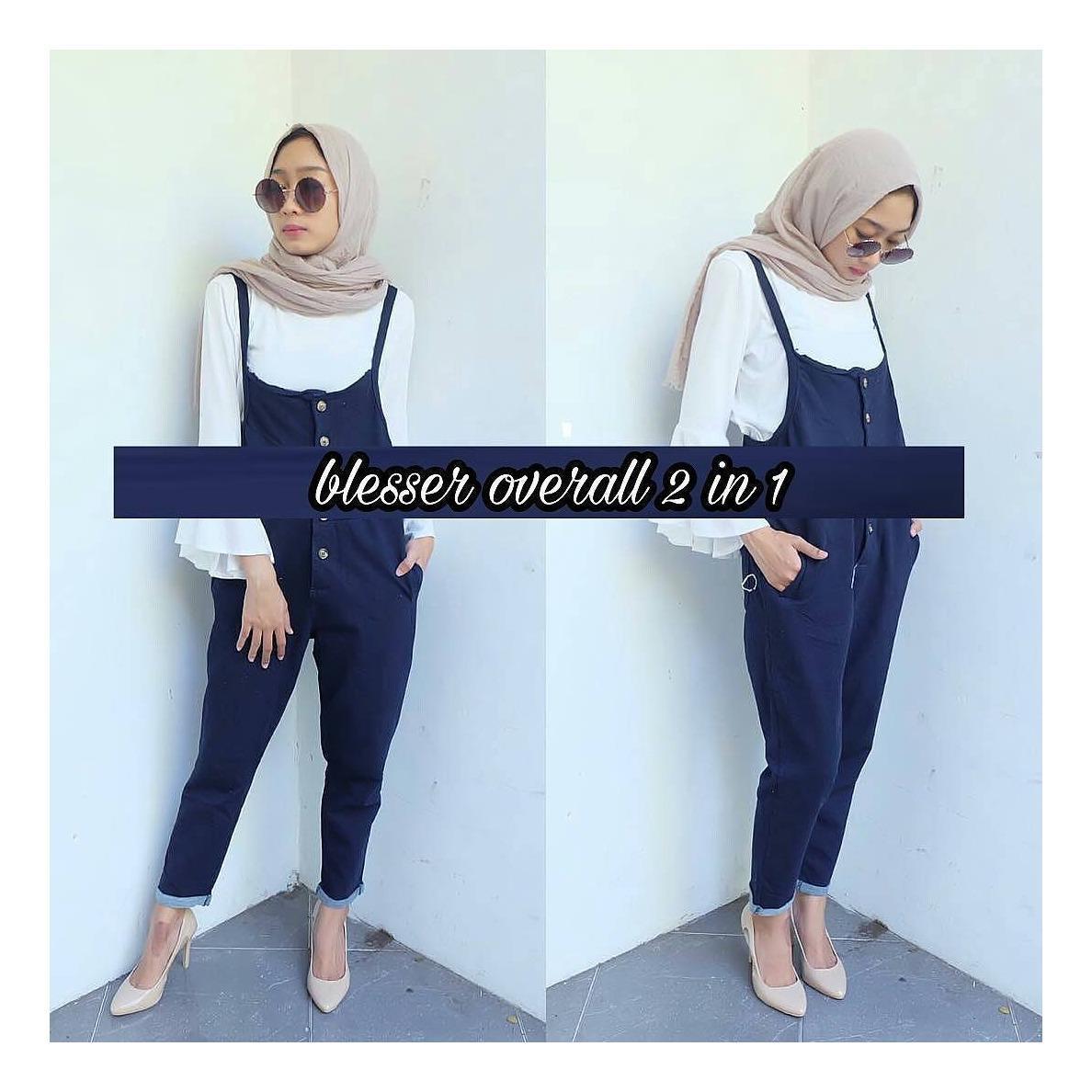 "Setelan& Jumpsuit ""ML BLESSER OVERALL 2IN1""  Baju Panjang Muslim Hijab Modern Pakaian Wanita Trand Terbaru Murah Fashionable"