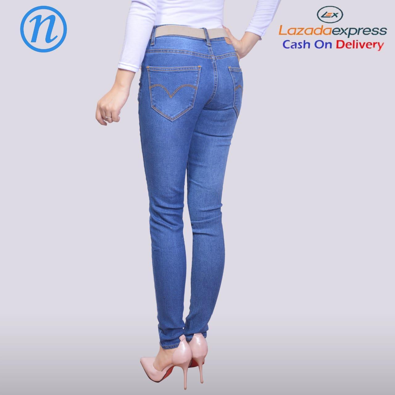 Nusantara Jeans - Celana Panjang Wanita Model Skinny Berbahan Denim Street Ripped Retslting .
