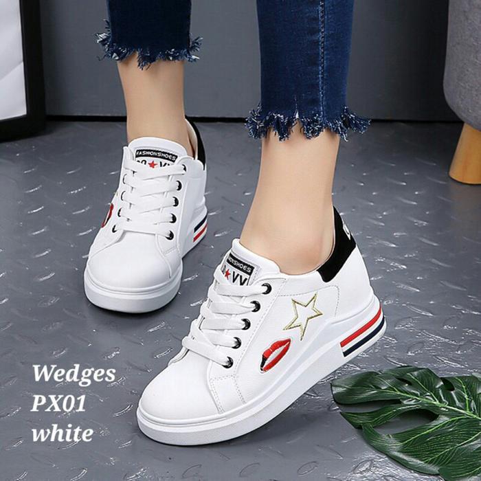 SNEAKER (LIPS PUTIH ) - Sepatu Wanita Keren - Sepatu Fashion Wanita - Sepatu Import