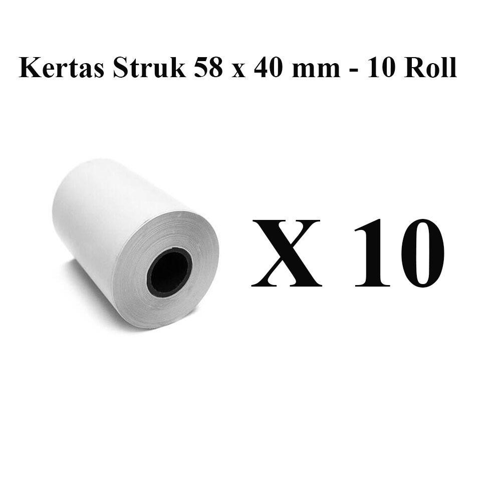 Cek Harga Baru Kertas Struk 10 Roll Thermal Paper 58 X 30 Mm Untuk Kasir Printer 58x30 Mobile 40