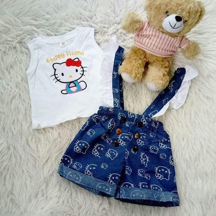 Beli Setelan Baju Celana Bayi Anak Overall Celana Denim Hello Friend Dengan Kartu Kredit