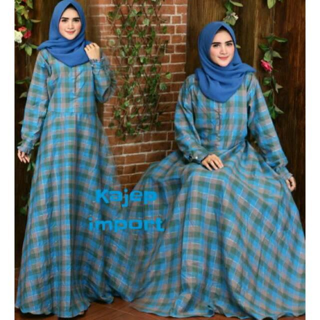gamis syari KAJEP IMPORT motif kotak katun jepang maxi dress fashion busana muslim wanita (khimar