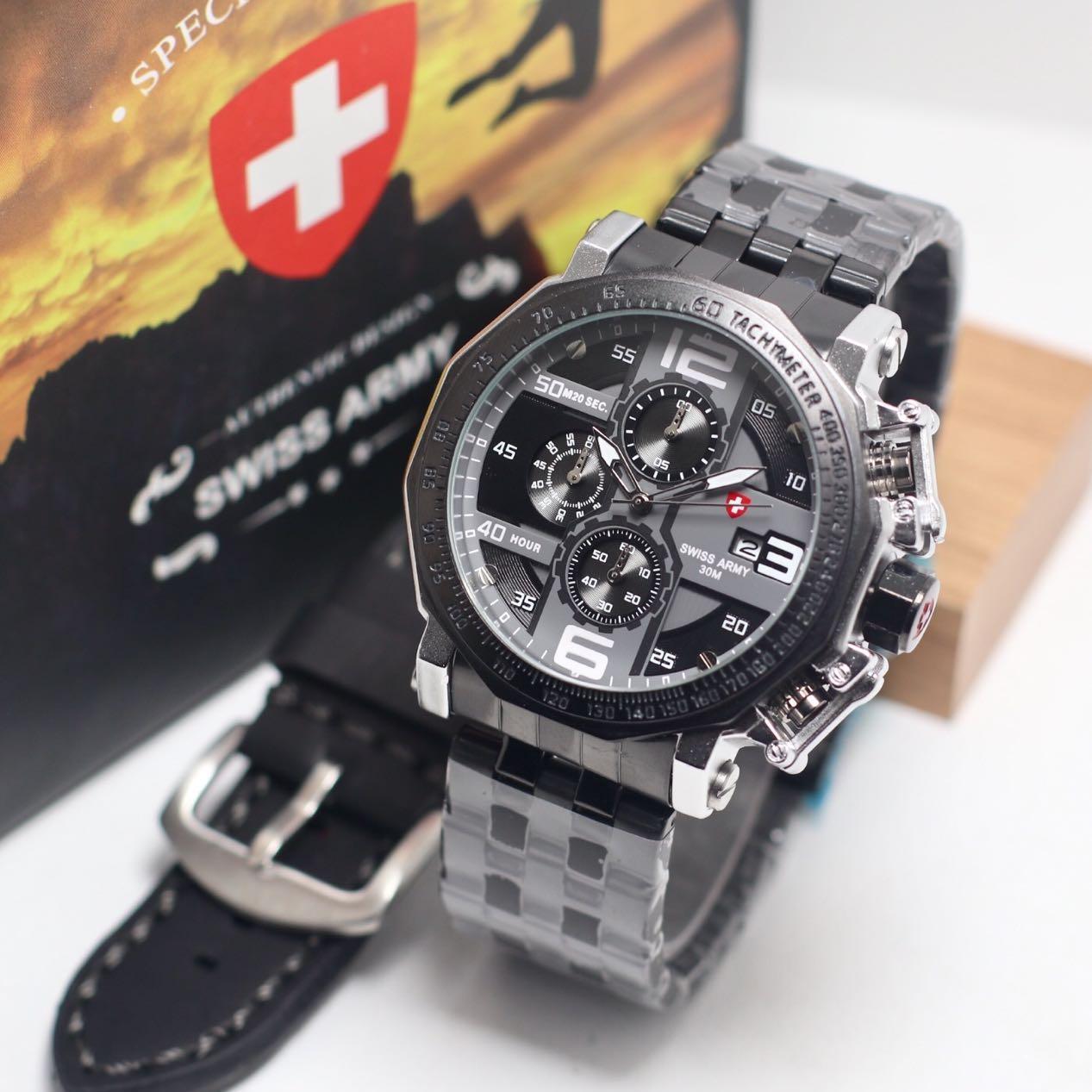 Swiss Army Original Crono Jam Tangan Pria Tali Kulit4 Daftar Harga Analog Kotak Series Kulit Coklat