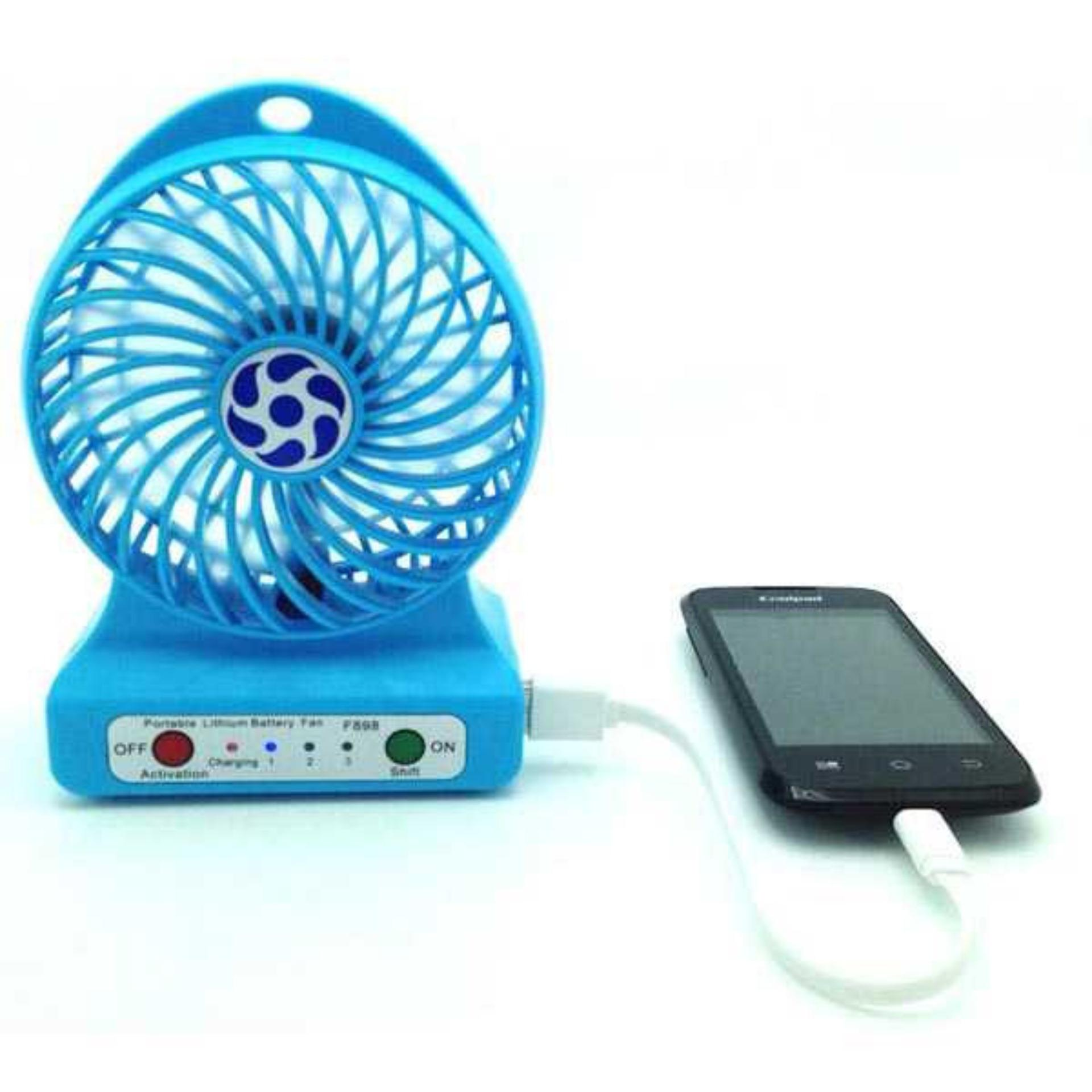 Twelven Kipas Angin Power Bank Portable Mini Fan 3 Speed Kabel Source Multifunction .