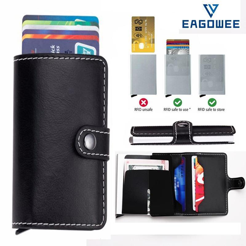Ulasan Lengkap Eagowee Anti Theft Bisnis Blocking Perjalanan Kartu Dompet Kulit Otomatis Pop Up Klik Slide Pemegang Peta Bank Kart Case Aluminium Paduan Kartu Case Intl